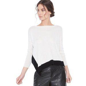 Alice + Olivia Base Dona Diagonal Hem Medium Cream Wool Blend Sweater